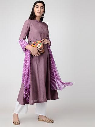 Purple Cotton Slub Kurta with Pockets
