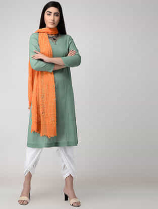 Green Cotton Slub Kurta with Pintucks