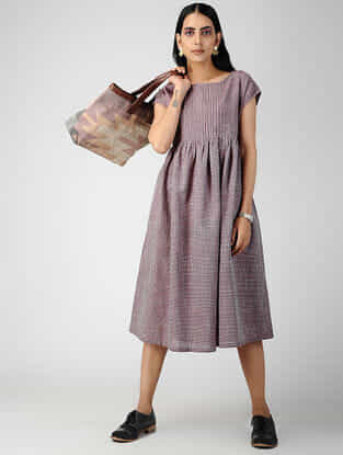 Purple Handloom Cotton Dress with Pintucks