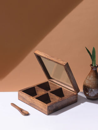 Brown Handcrafted Wood Spice Box