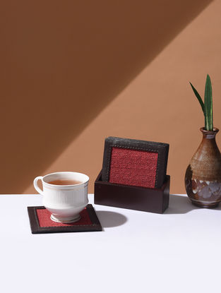 Brown-Red Handcrafted MDF and Leatherite Coasters (Set of 4) (L:4in, W:4in, H:4.2in)