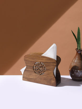 Brown Handcrafted Wood Napkin Stand (L:5.6in, W:2.2in, H:4.5in)