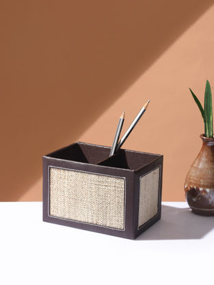 Brown Handcrafted Banana Fiber and leatherite Cutlery Stand (L:6in, W:4in, H:4in)