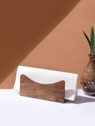 Brown Handcrafted Wood Napkin Stand with Inlay Design (L:5.6in, W:1.6in, H:2.5in)