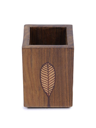 Brown Hand-painted Wood Cutlery Stand (L:3.5in, W:3.5in, H:4.6in)