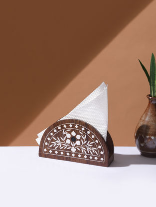 Brown Handcrafted Wood Napkin Stand (L:6in, W:1.6in, H:3.5in)