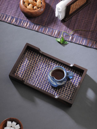 Brown-Blue Handcrafted MDF and Shital Patti Serving Tray (L:12in, W:6.7in, H:1.6in)