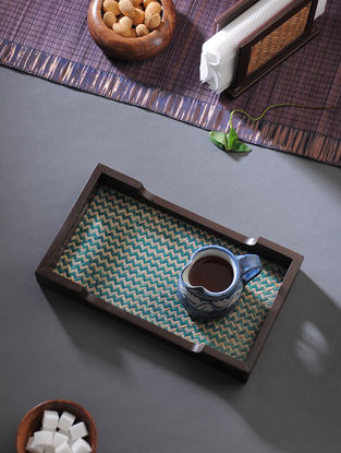 Brown-Green Handcrafted MDF and Shital Patti Serving Tray (L:12in, W:7in, H:1.6in)