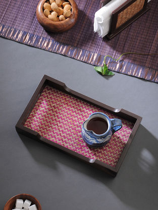 Brown-Pink Handcrafted MDF and Shital Patti Serving Tray (L:12in, W:7in, H:1.6in)