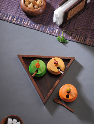 Multicolored Handcrafted Wood Jar with Tray (Set of 4)