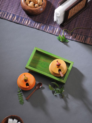 Multicolored Handcrafted Wood Jar with Tray (Set of 3)