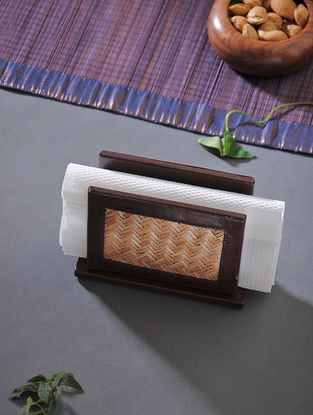 Brown Handcrafted Wood Napkin Stand (L:6.5in, W:2.7in, H:4.6in)