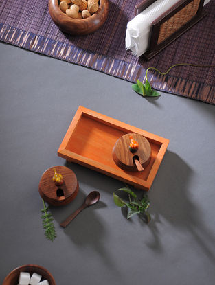 Brown-Orange Handcrafted Wood Jar with Tray (Set of 3)