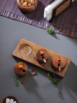 Brown Handcrafted Wood Jar with Tray (Set of 4)