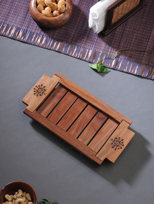 Brown Carved Wood Serving Tray (L:12in, W:6in, H:1in)