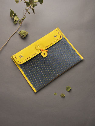 Yellow Handcrafted Mashru and Leather Ipad Sleeve
