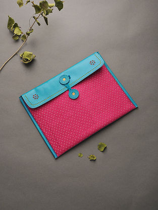 Blue-Red Handcrafted Mashru and Leather Ipad Sleeve