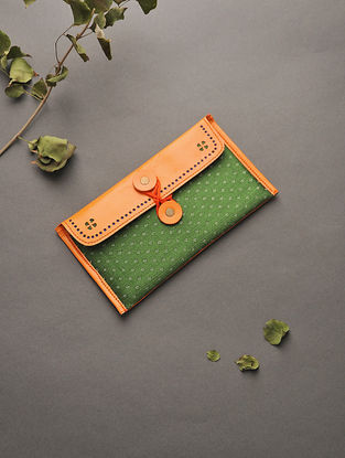 Orange-Green Handcrafted Mashru and Leather Batuwa
