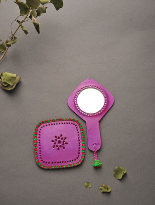 Pink Handcrafted Leather Mirror with Pouch