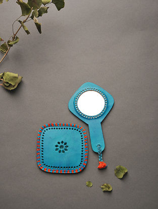 Blue Handcrafted Leather Mirror with Pouch