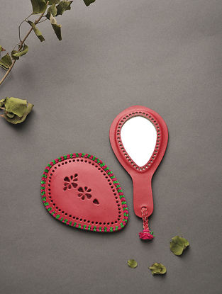 Red Handcrafted Leather Mirror with Pouch