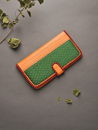 Orange-Green Handcrafted Mashru and Leather Clutch