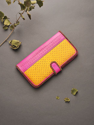 Pink-Yellow Handcrafted Mashru and Leather Clutch