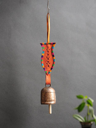 Orange Handmade Leather and Copper Bell (13.5in x 2.2in)