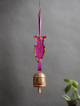 Pink Handmade Leather and Copper Bell (13.5in x 2.2in)