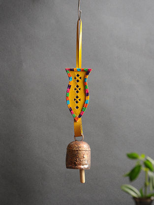 Yellow Handmade Leather and Copper Bell (13.5in x 2.2in)