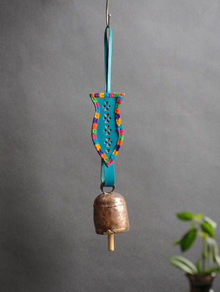 Blue Handmade Leather and Copper Bell (12.5in x 2.3in)
