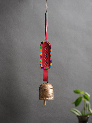 Red Handmade Leather and Copper Bell (13.5in x 2in)