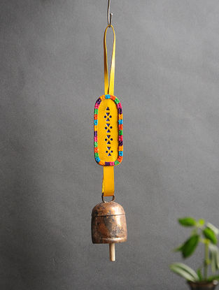 Yellow Handmade Leather and Copper Bell (13in x 2in)