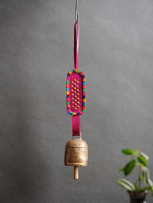 Pink Handmade Leather and Copper Bell (13.7in x 2in)
