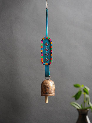 Blue Handmade Leather and Copper Bell (13.5in x 2in)