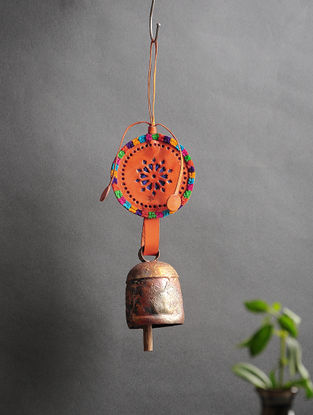 Orange Handmade Leather and Copper Bell (14in x 3.5in)
