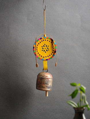 Yellow Handmade Leather and Copper Bell (14in x 3.6in)