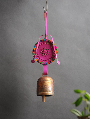 Pink Handmade Leather and Copper Bell (13.5in x 3.6in)