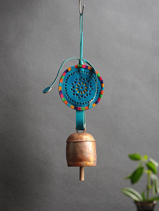 Blue Handmade Leather and Copper Bell (14in x 3.5in)