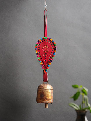 Red Handmade Leather and Copper Bell (14.5in x 3.1in)
