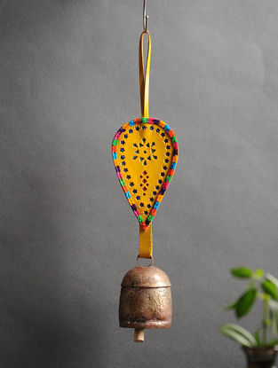 Yellow Handmade Leather and Copper Bell (15in x 3.1in)