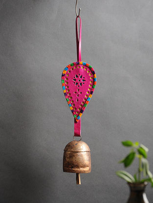 Pink Handmade Leather and Copper Bell (15in x 3.1in)