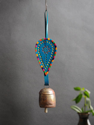 Blue Handmade Leather and Copper Bell (14.5in x 3.1in)