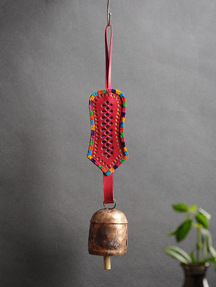 Red Handmade Leather and Copper Bell (14.5in x 2.5in)
