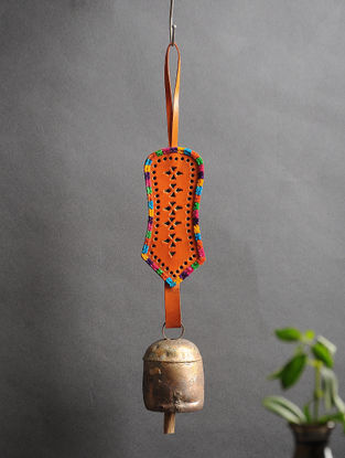 Orange Handmade Leather and Copper Bell (14.5in x 2.5in)