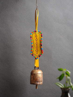 Yellow Handmade Leather and Copper Bell (15in x 2.3in)