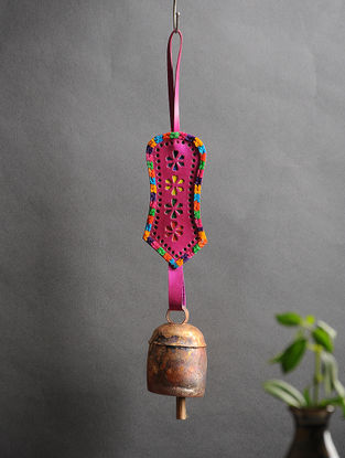 Pink Handmade Leather and Copper Bell (15in x 2.3in)