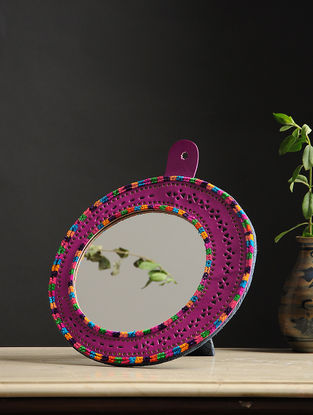 Aaina Chaand Pink-Multicolored Handmade Leather Mirror