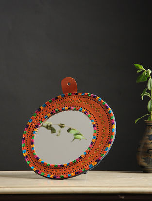 Aaina Chaand Orange-Multicolored Handmade Leather Mirror