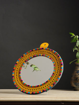 Aaina Gol Yellow-Multicolored Handmade Leather Mirror